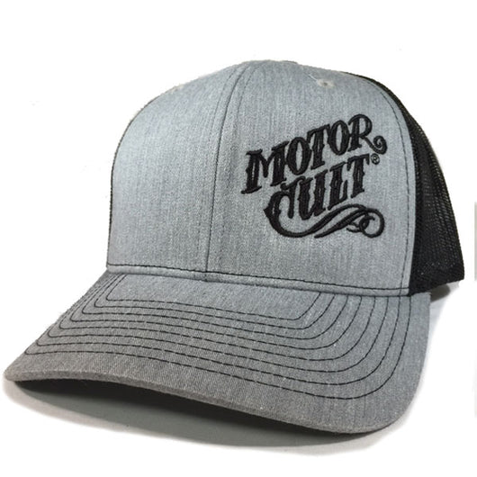 HIGH VOLTAGE - SNAP BACK TRUCKER HAT HEATHER GREY - MOTORCULT - MotorCult