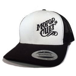 HIGH VOLTAGE - SNAPBACK TRUCKER HAT BLACK / WHITE - MOTORCULT - MotorCult
