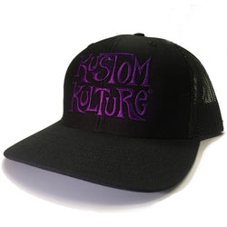 KUSTOM KULTURE - SNAP BACK TRUCKER HAT BLACK W/PURPLE LOGO - MotorCult