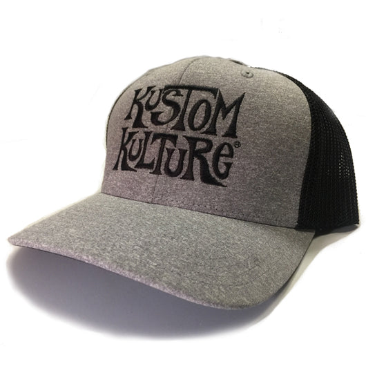 KUSTOM KULTURE - SNAP BACK TRUCKER HAT HEATHER GREY/BLACK - MotorCult