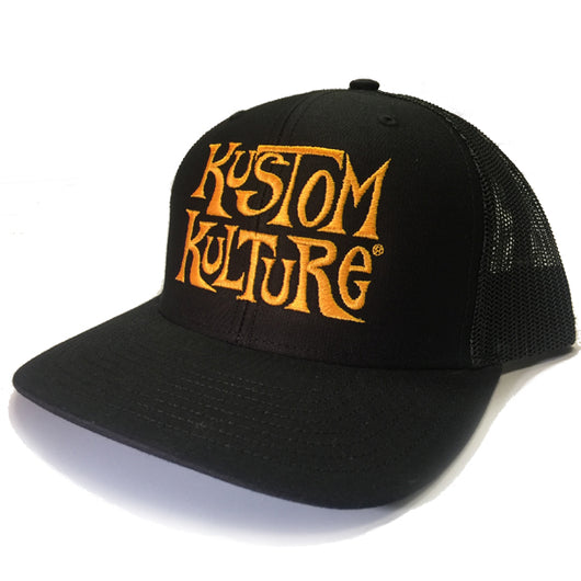 KUSTOM KULTURE - SNAP BACK TRUCKER HAT BLACK W/GOLD LOGO - MotorCult