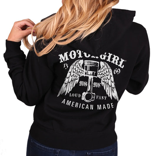 LOUD AND FAST - WOMENS ZIP HOODIE - MOTORGIRL - MotorCult