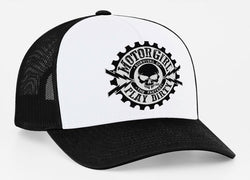 PLAY DIRTY - SNAP BACK CURVED BILL TRUCKER HAT - BLACK / WHITE - MOTORGIRL