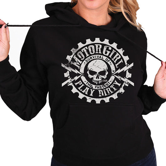 PLAY DIRTY - WOMENS PULLOVER HOODIE - MOTORGIRL - MotorCult