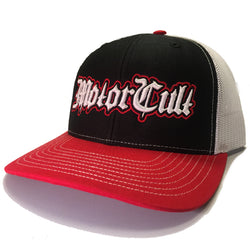 STERLING - SNAPBACK TRUCKER HAT BLACK / WHITE / RED - MOTORCULT - MotorCult