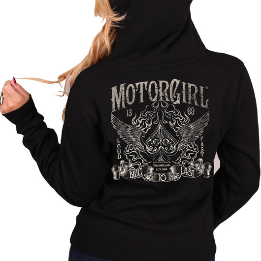 ACES HIGH - WOMENS ZIP HOODIE - MOTORGIRL - MotorCult
