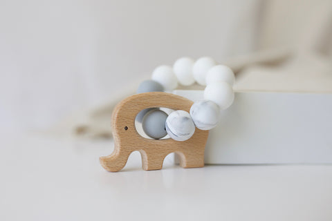 Neutral Contrast Elephant Teether Toy