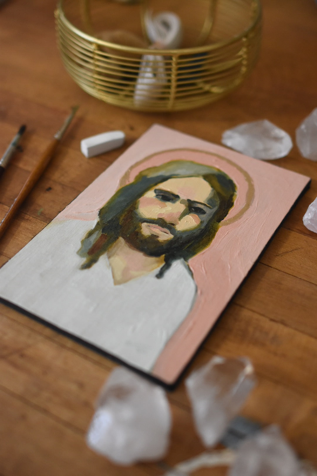 Christ Portrait in Pink