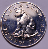 G0026 Gibraltar 1971  25 New Pence proof monkey ape combine shipping