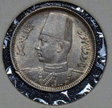 Egypt 1937 2 Piastres silver AU 190264 combine shipping