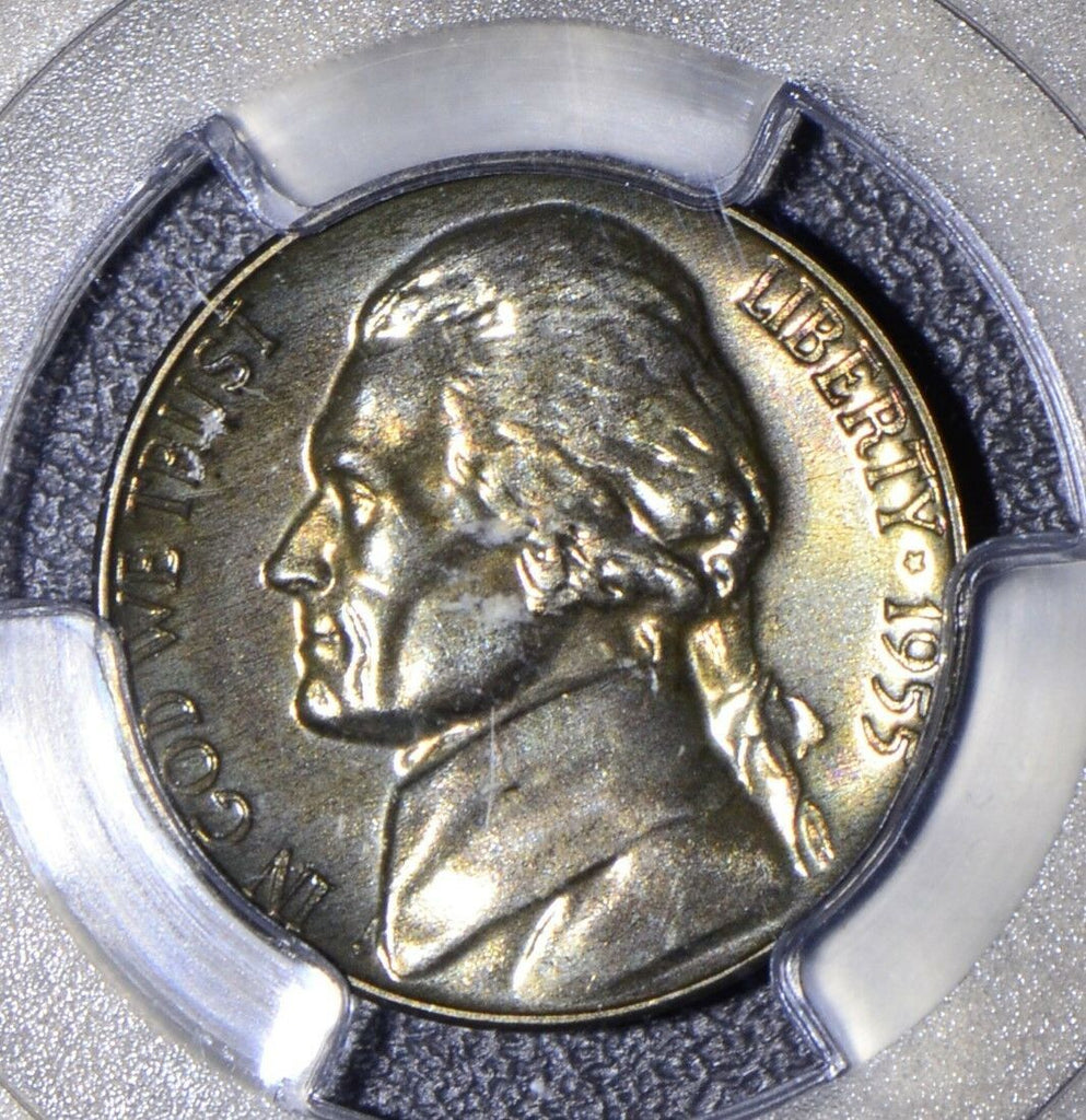 1955  5 Cents PCGS MS PR65 Jefferson nickel proof magenta metalic toning JJ008
