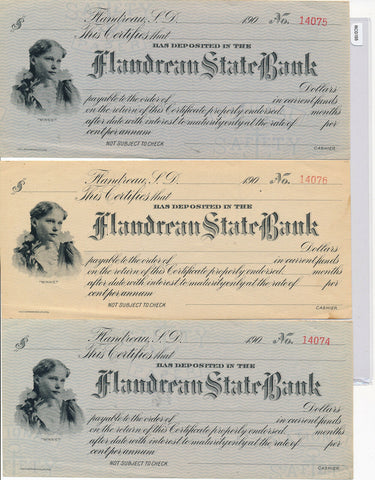 RC0155   indian territory check  flandreau bank group of 3 combine shipping