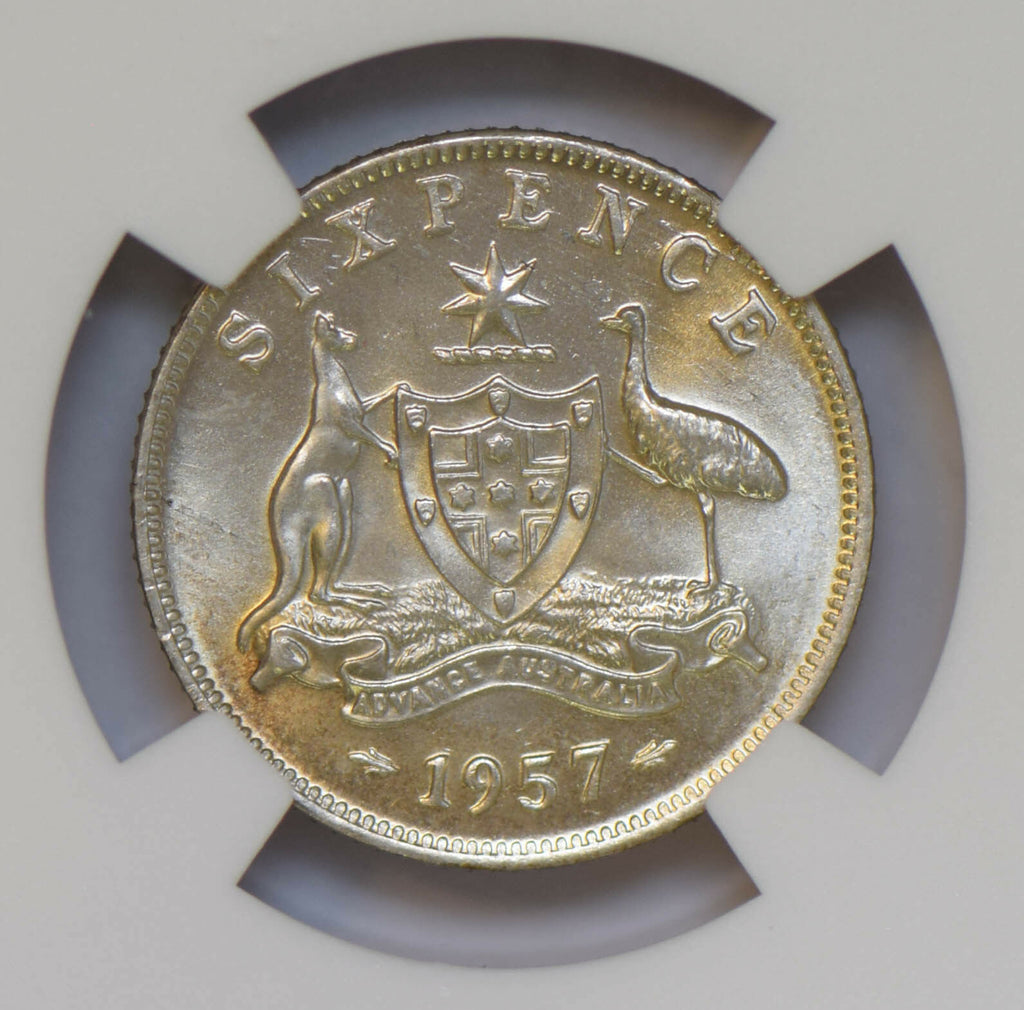 Australia 1957 6 Pence silver NGC MS62 NG0692 combine shipping