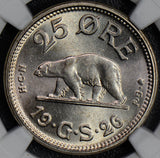 NG0348 Greenland 1926 HCN 25 Ore silver NGC MS64 no hole polar bear rare in this