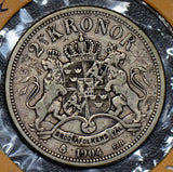 Sweden 1904 2 Kronor silver  S0169 combine shipping