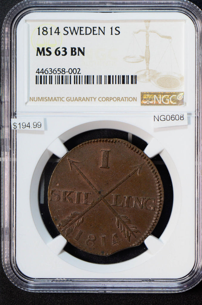 NG0608 Sweden 1814 S Skilling NGC MS63 BN rare in this grade combine shipping