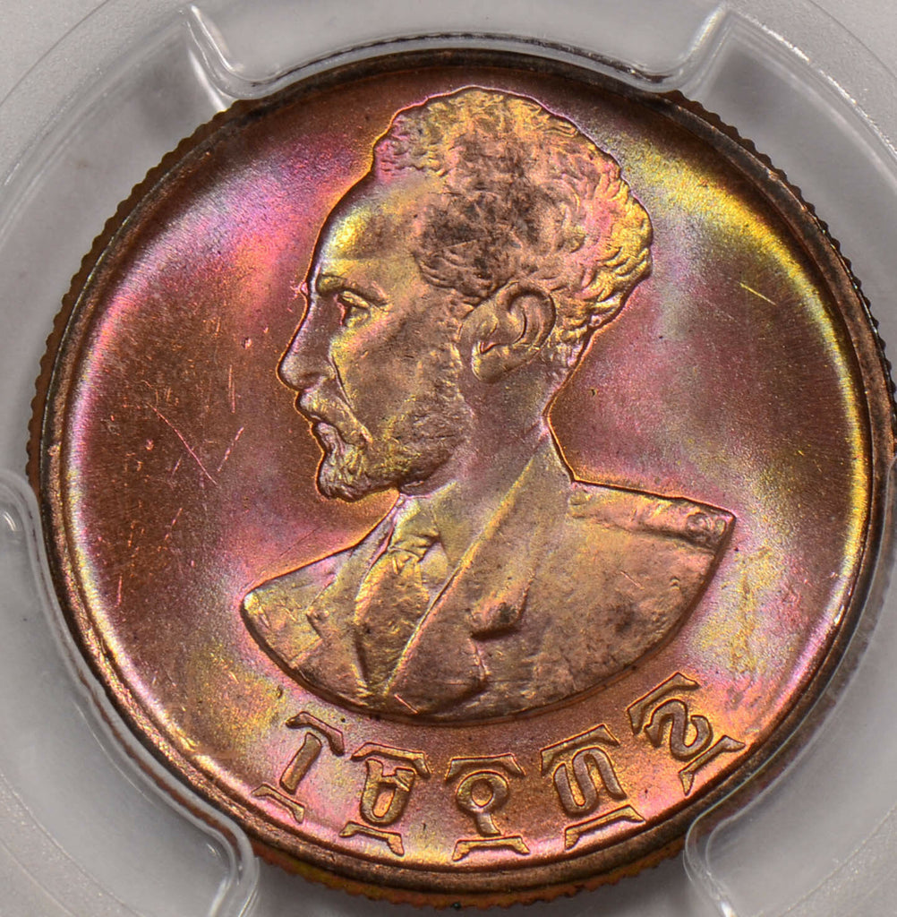 PC0097 Ethiopia 1936  25 Cents PCGS MS 64 RB Gorgeus purple and yellow toning!