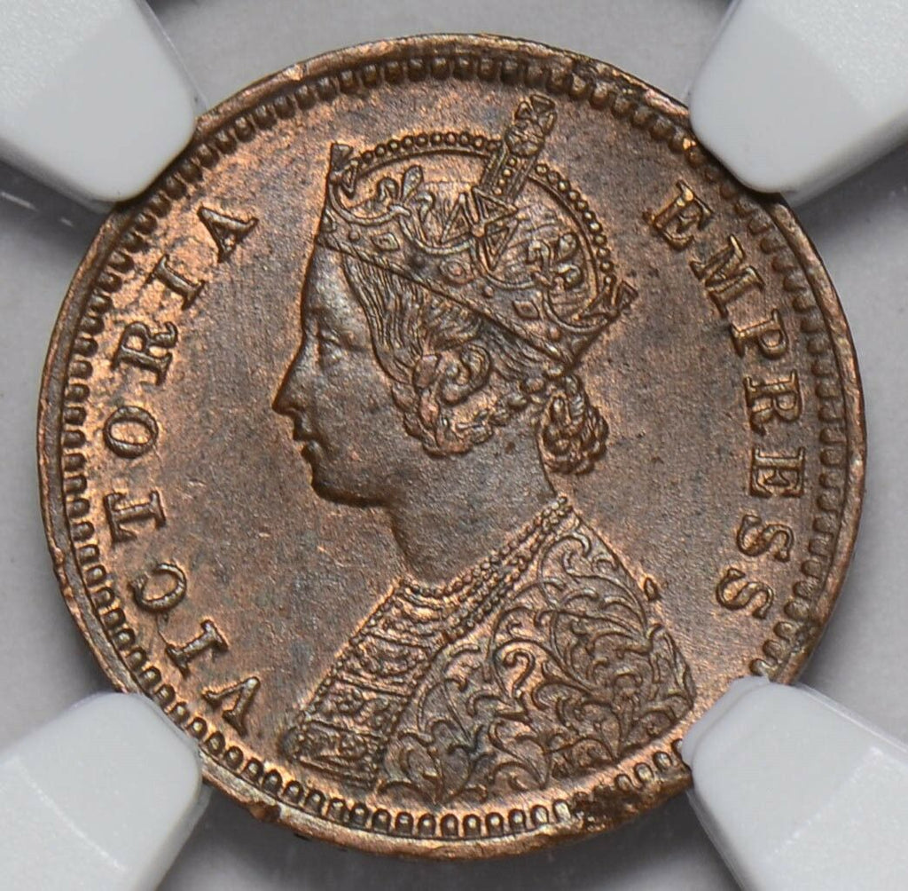 NG0209 British India 1891 C 1/12 Anna NGC MS 63BN calcutta mint rare in this gra