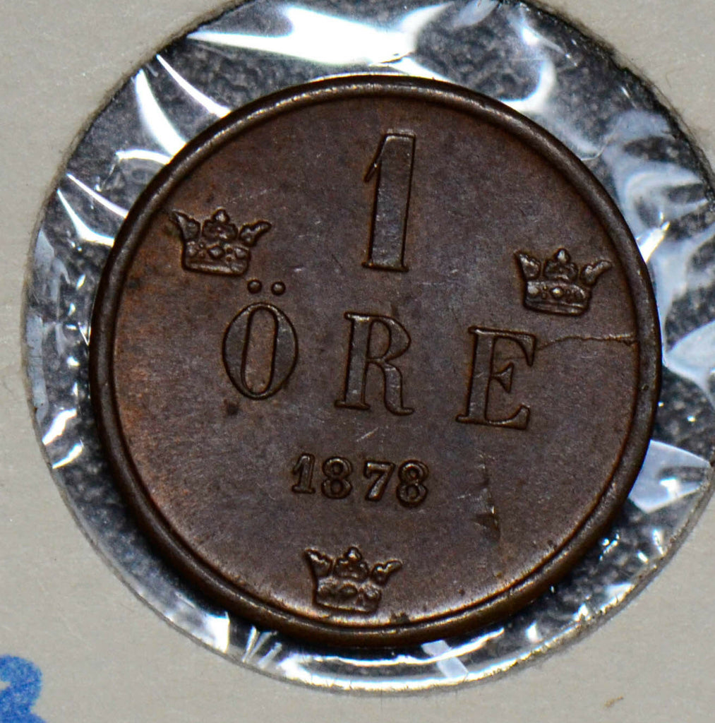 Sweden 1878 Ore UNC double date S0171 combine shipping