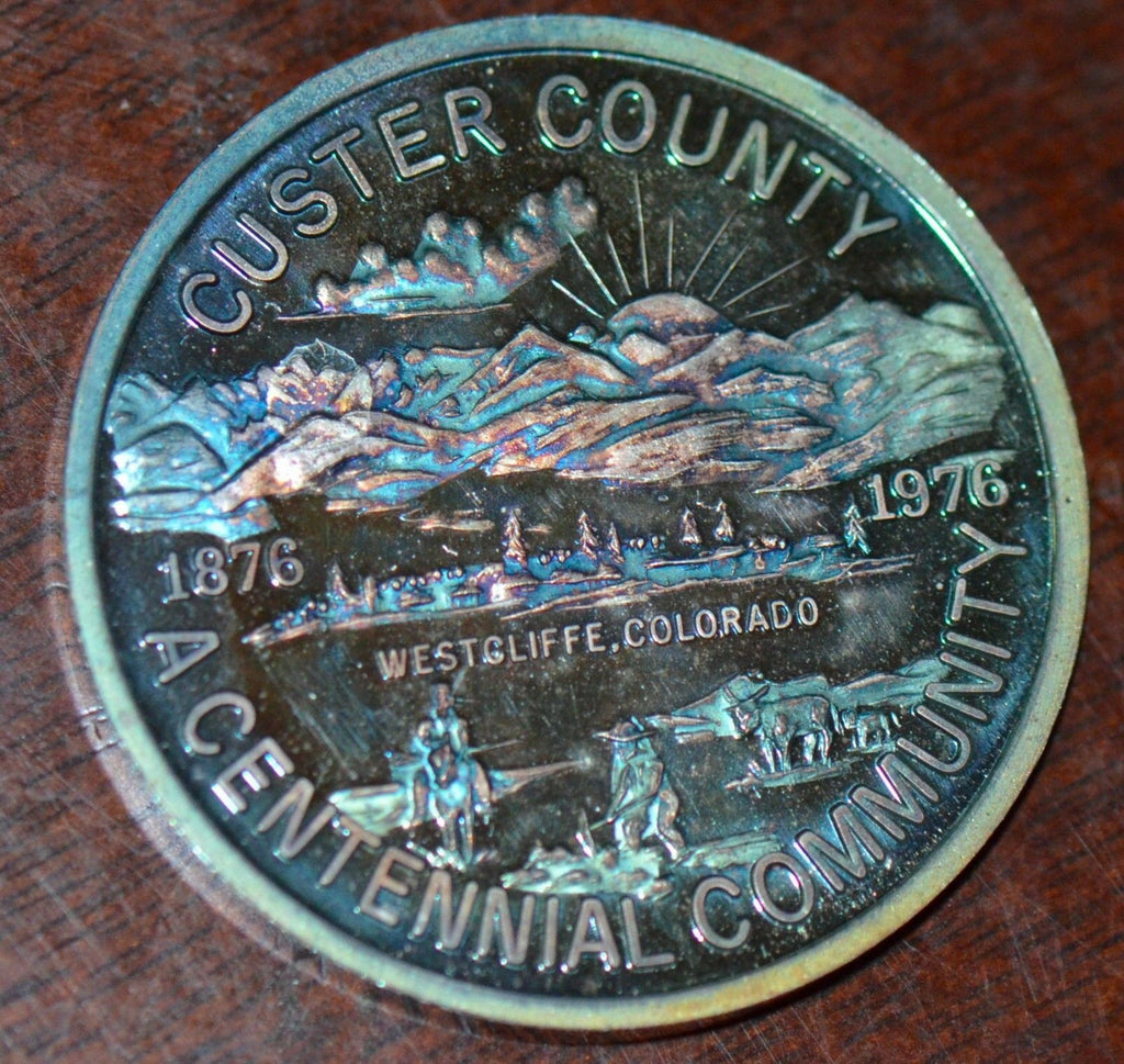 U0013 Colorado Custer County medal toned Centennial Community 1976 blue toning