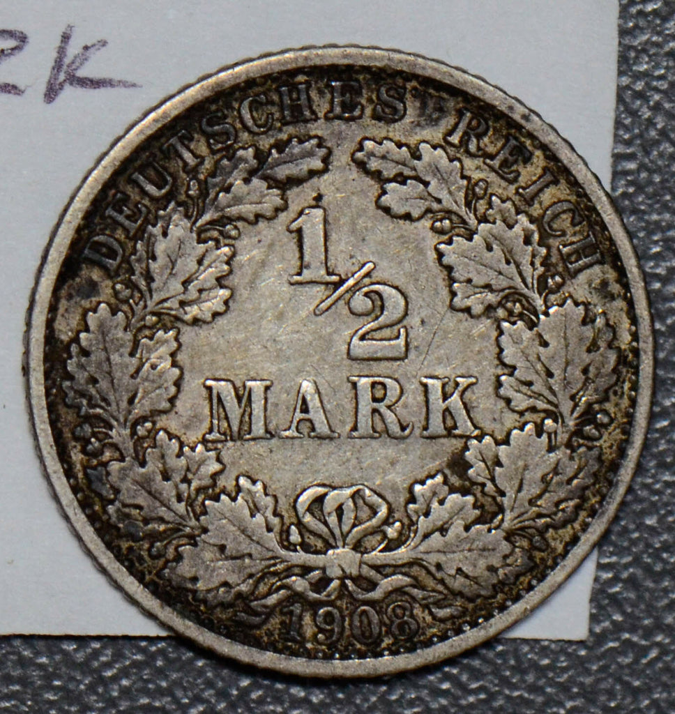Germany 1908 G 1/2 Mark silver  190517 combine shipping