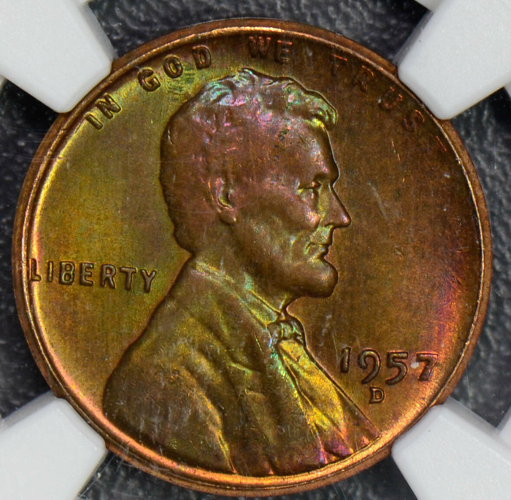 1957 D Cent NGC MS65 RB lincon cent stunning green and purple toning NG0328 com