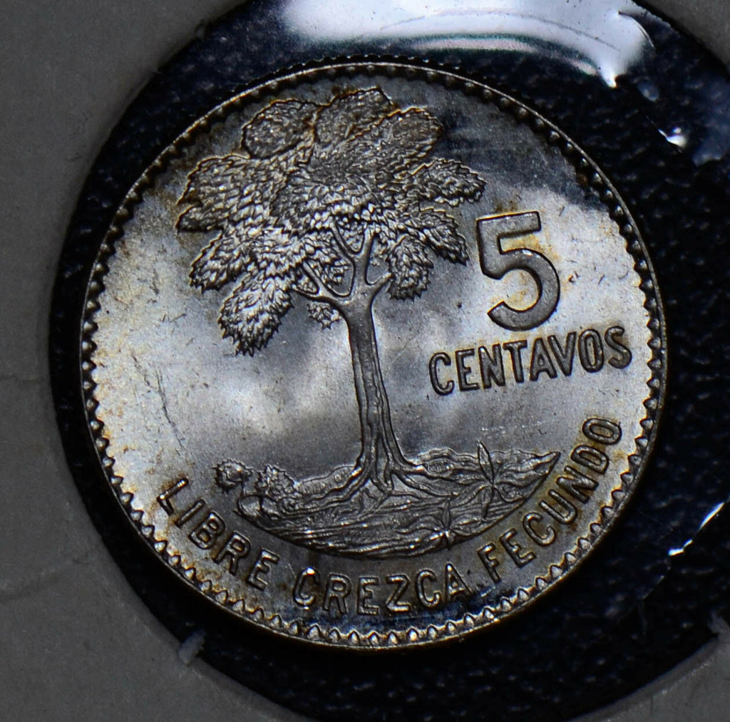 Guatemala 1960 5 Centavos silver bird animal Gem BU tree G0042 combine shipping