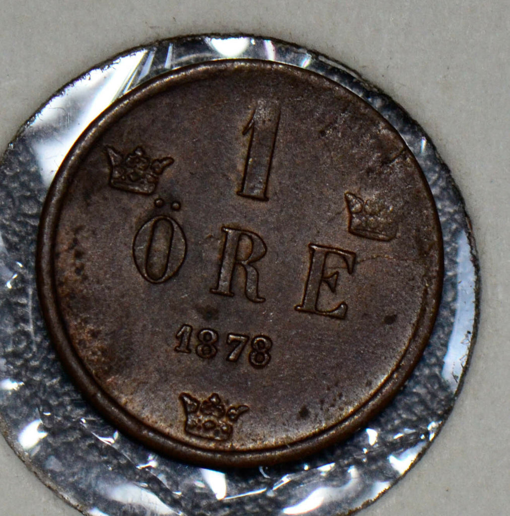 "Sweden 1878 Ore UNC double ""8"" some die defect S0172 combine shipping"