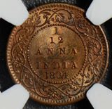 British India 1894 C 1/12 Anna NGC MS63RB Calcutta mint combine shipping NG0386