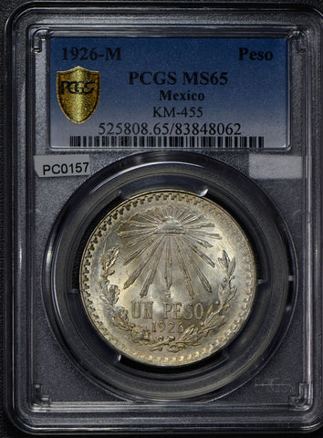 Mexico 1926 Peso silver eagle animal PCGS MS65 rare in this grade PC0157 combine