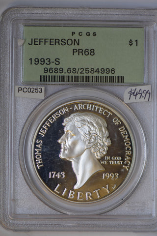1993 S $1 PCGS Proof 68 jefferson  green label PC0253 combine shipping
