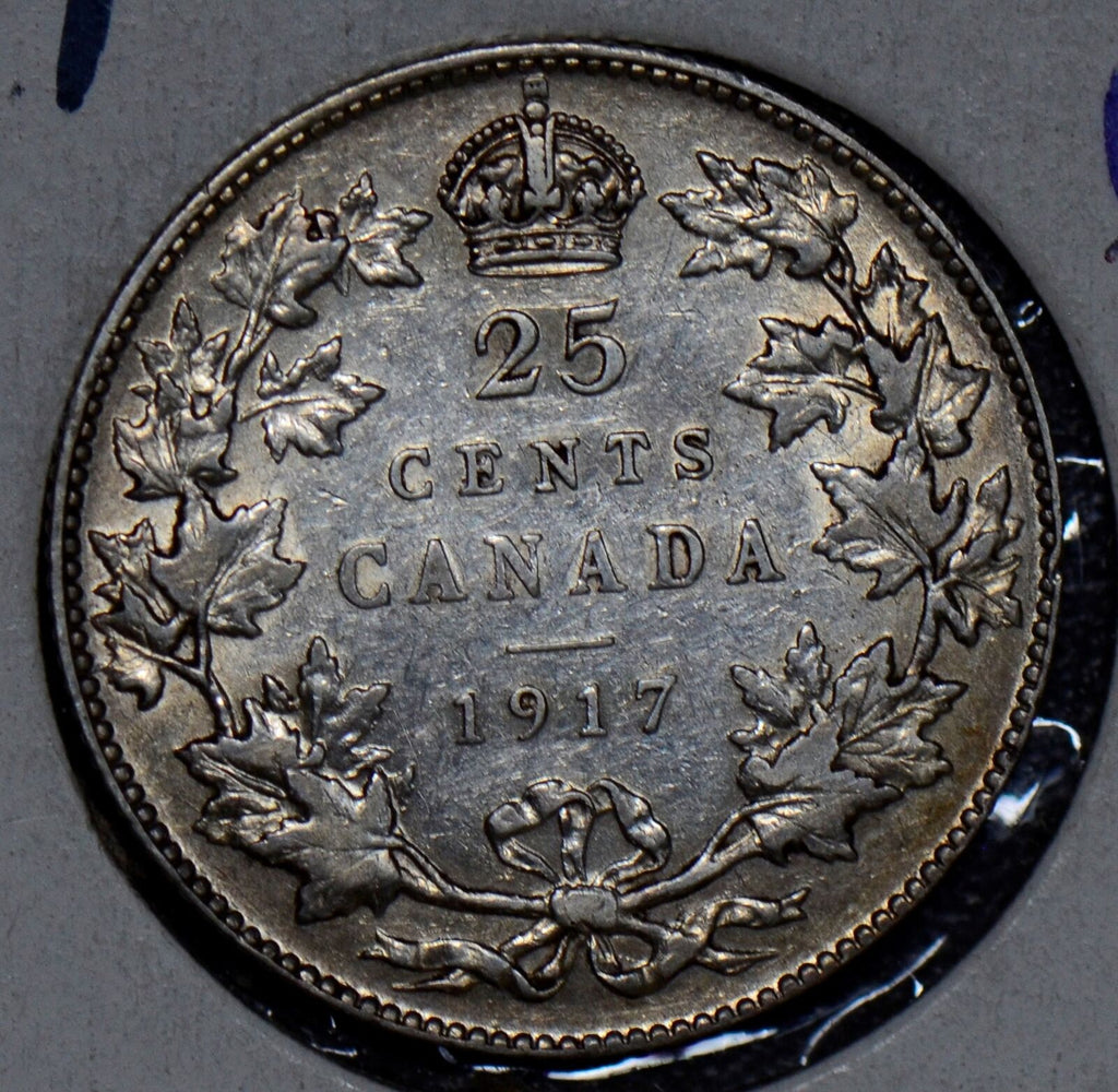 Canada 1917 25 Cents silver AU 190315 combine shipping