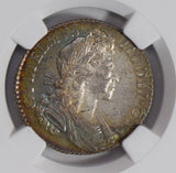 Great Britain 1700 Shilling silver NGC MS63 star gold green rainbow toning NG072