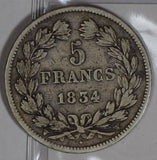 France 1834 5 Francs silver  F0175 combine shipping