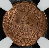 British India 1897 C 1/12 Anna NGC MS62RB calcutta mint NG0407 combine shipping
