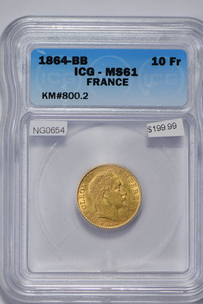 France 1884 10 Francs gold ICG MS61 NG0654 combine shipping