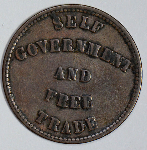 1857 Token Prince Eduward Island self government & free trade U0042 combine shi