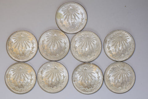 Mexico 9 coins 1930~45 silver cap and rays Peso Gem BU RC0104