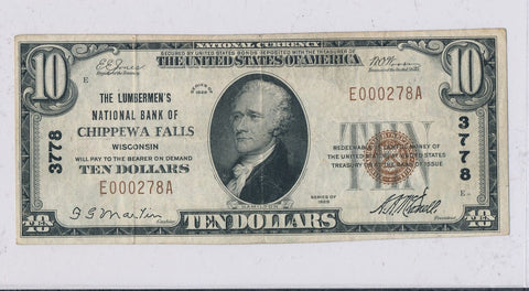 RC0243  1929 national currency Chippewa Falls $10 chart # 3778 combine shipping