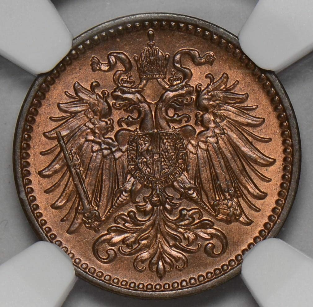 NG0223 Austria 1913  Heller NGC MS 65RB combine shipping