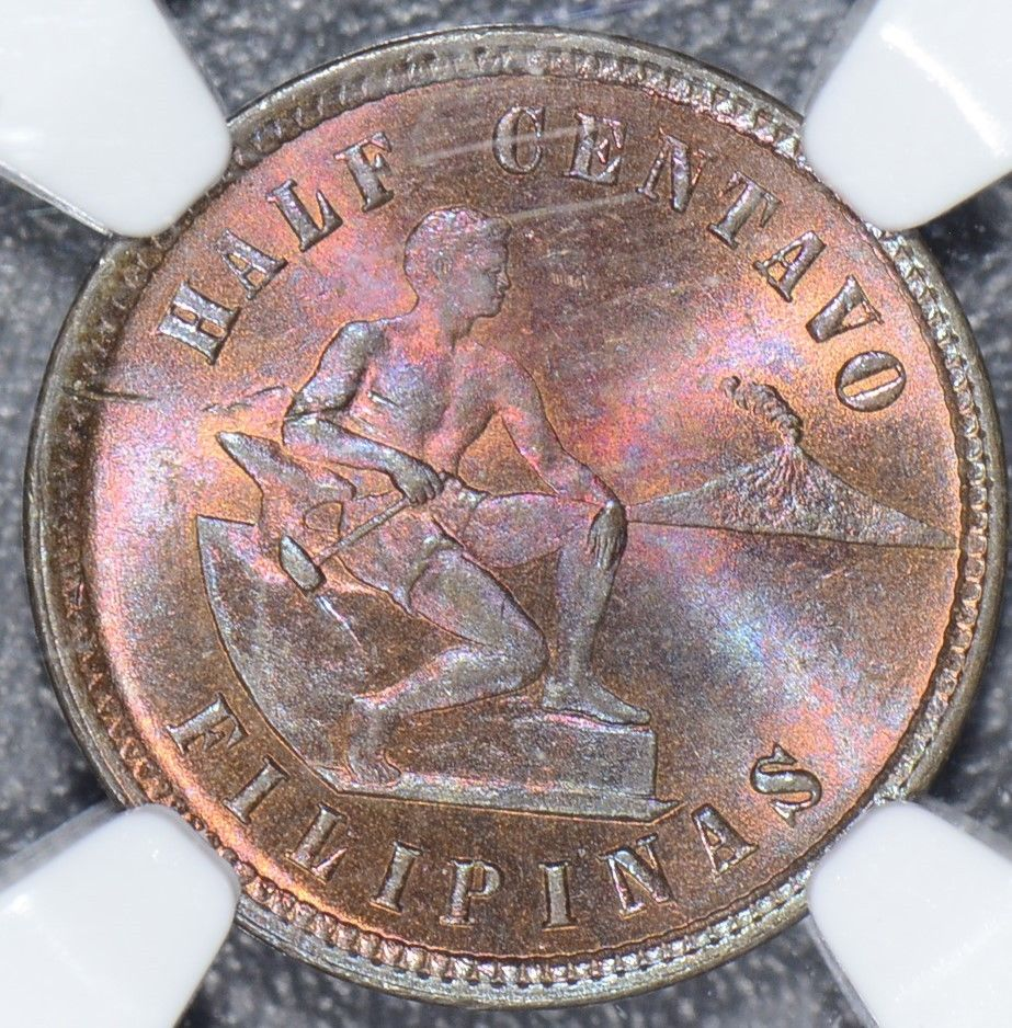 Philippines  1903 1/2 Centavo Megenta toning NGC MS64RB  NG0035 combine shipping