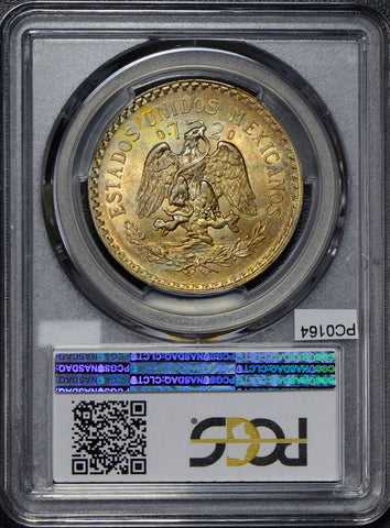 Mexico 1925 Peso silver eagle animal PCGS MS63 golden toning PC0164 combine ship
