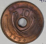 East Africa 1936 10 Cents stunning purple toning E0082 combine shipping