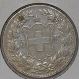 Switzerland 1891 5 Francs silver shooting thaler taler S0210 combine shipping