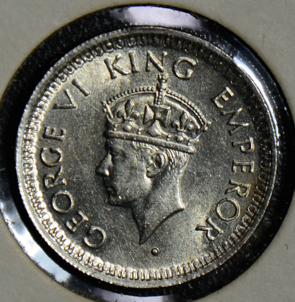British India 1944 1/4 Rupee silver  I0281 combine shipping