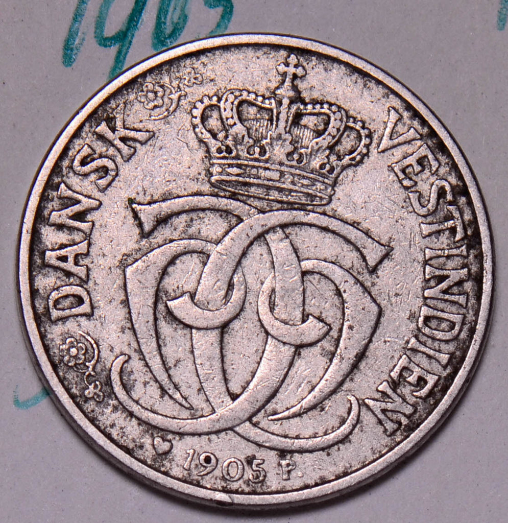 D0023 Danish West Indies 1905  5 Cents  25 Bit combine shipping
