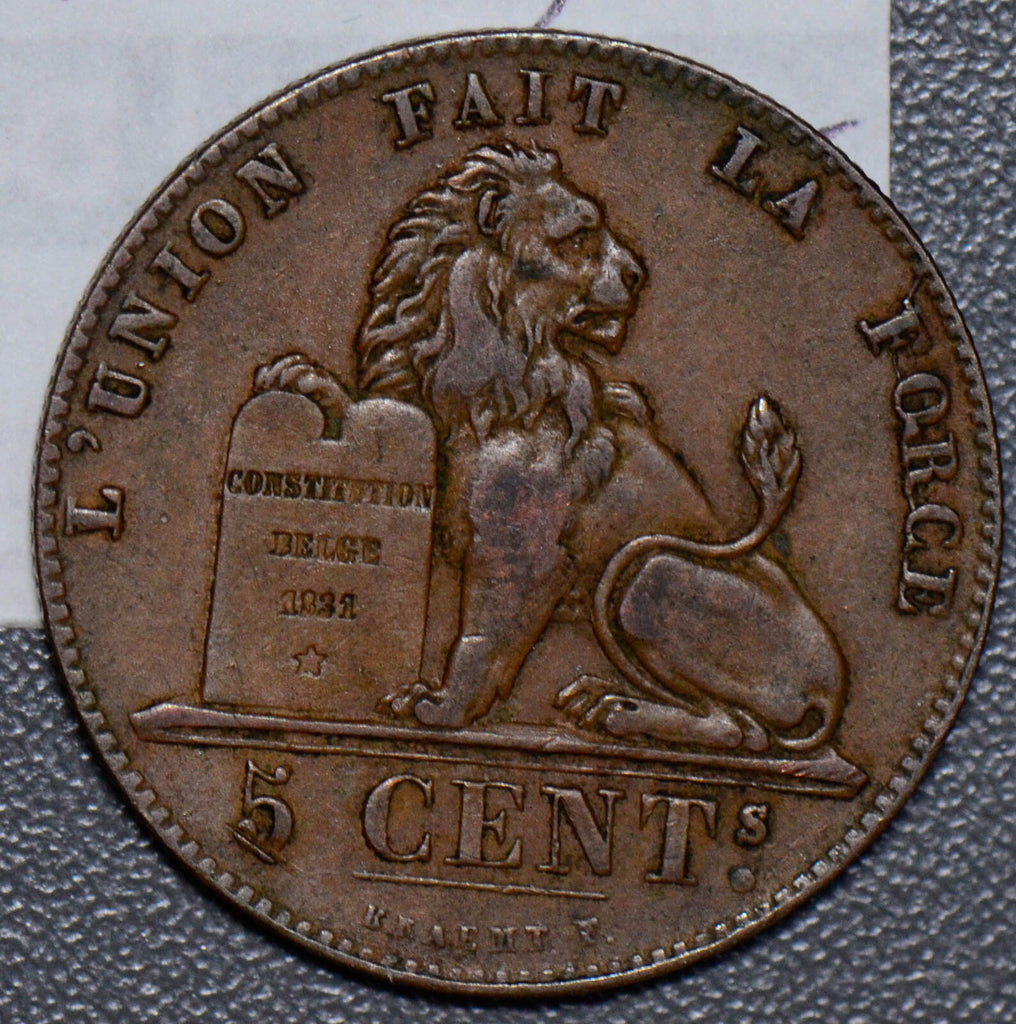 Belgium 1857 5 Centimes lion animal  B0090 combine shipping
