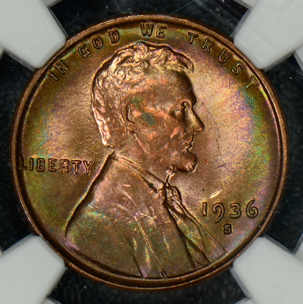 1936 S Cent NGC MS 64 RB green purple toning georgeous NG0267 combine shipping