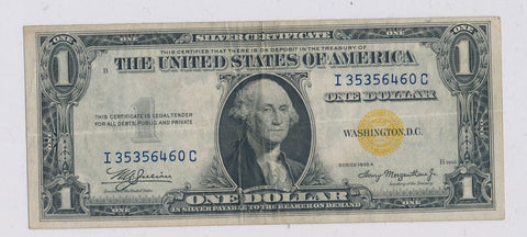 RC0245  1935 A silver certificate $1 world war II yellow seal rare in this grade