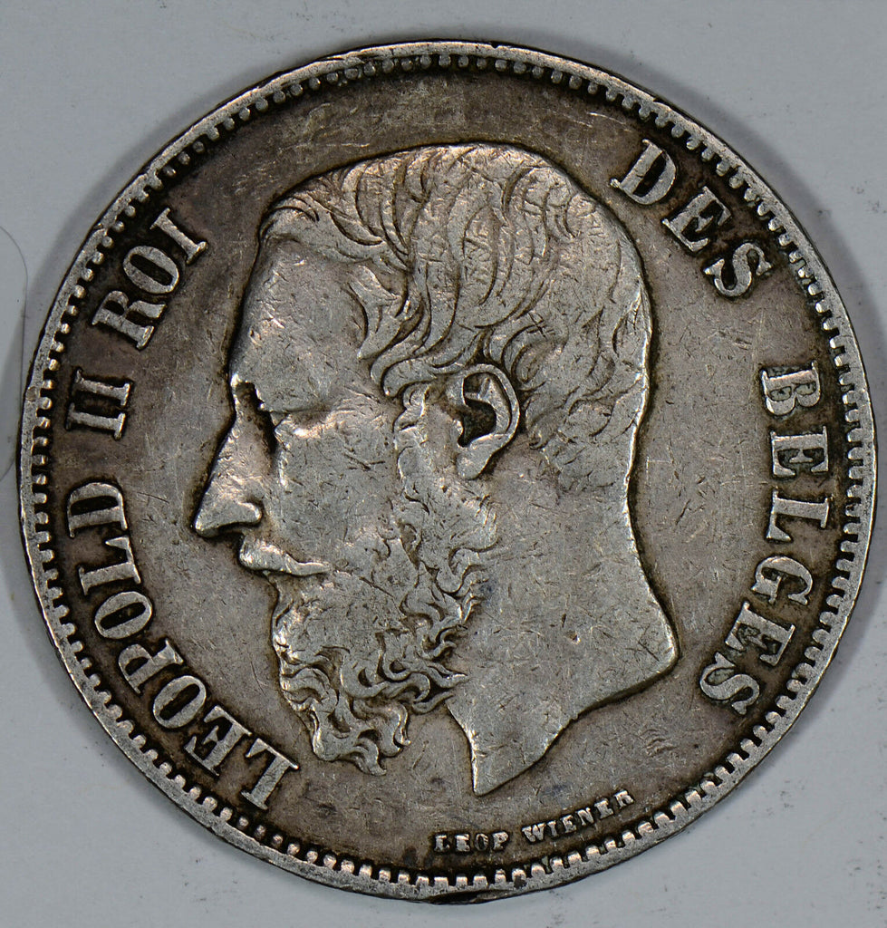 BU0217 Belgium 1868 5 Francs silver VF~XF the one you receive will be of the sam
